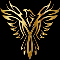 Main gold phoenix black background
