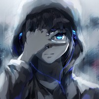 Main anime boy hoodie blue eyes headphones painting