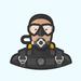 Thumb scuba diver avatar