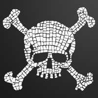 Main mosaic skull blk