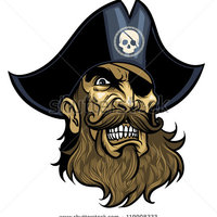 Main stock vector angry vector pirate face wearing hat and eye patch 119908333